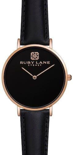 Montre RUBY LANE Femme avec Boitier Rond 36 mm et Bracelet Cuir Noir