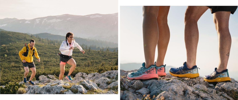 Collage di foto di persone che corrono e primo piano di scarpe