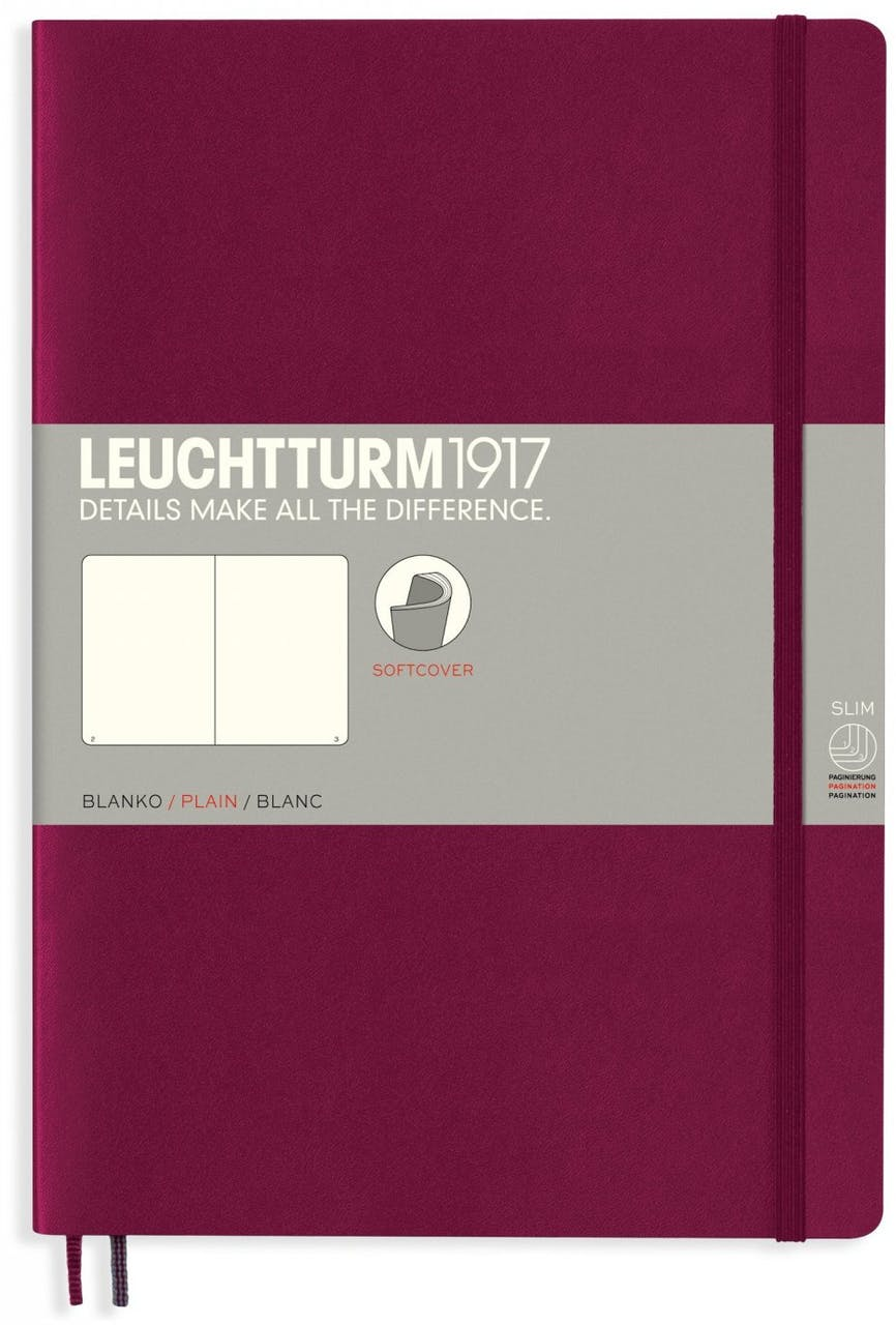 Leuchtturm Notizbuch Softcover, B5, Composition, blanko, 121 Seiten, beere