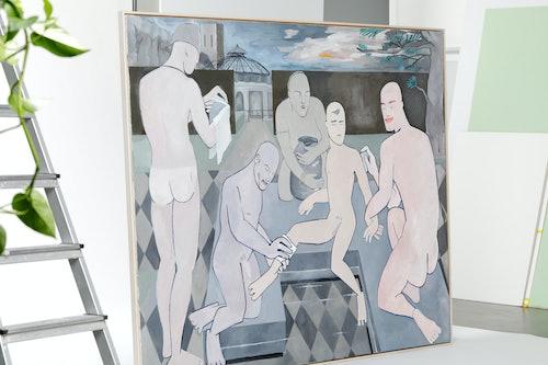 Fertig gerahmtes Gemälde mit Schattenfugenrahmen