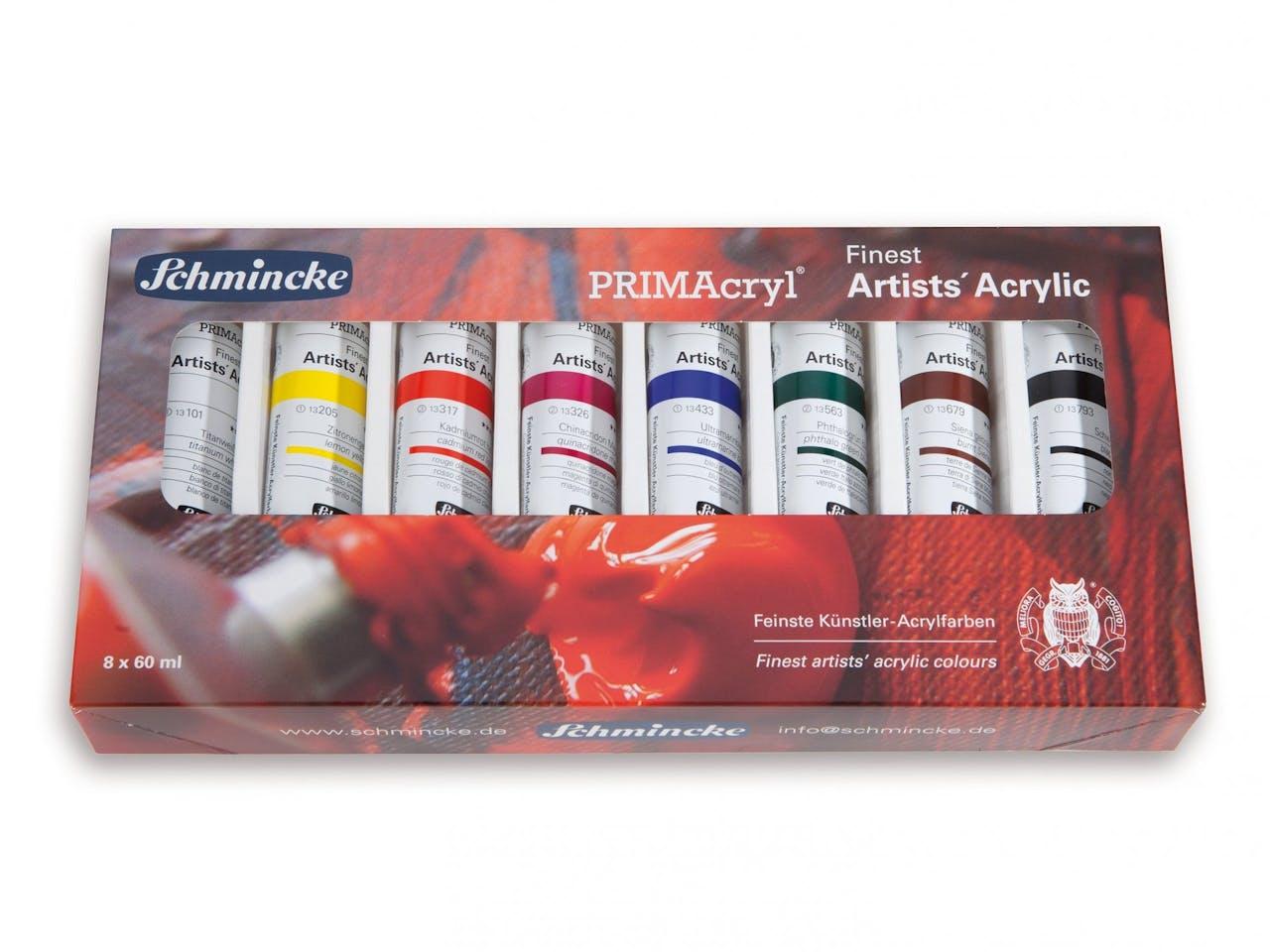 Schmincke Acrylfarbe Primacryl Set, 8er-Set in Karton, Metalltuben 60 ml (73002)