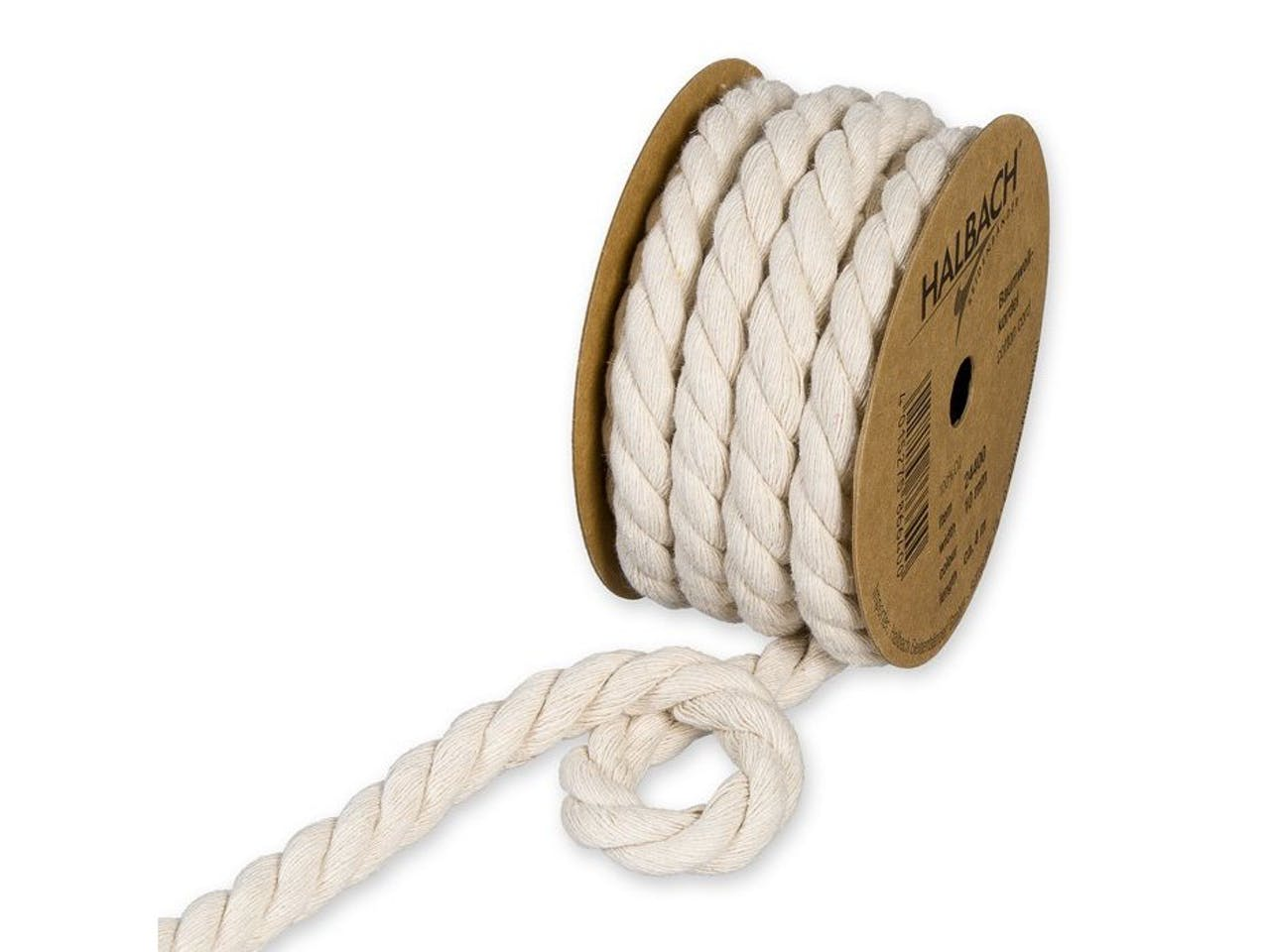 Recycling Baumwollrundkordel, gedreht, Spule, ø 10 mm, l = 4 m, naturweiß (70)