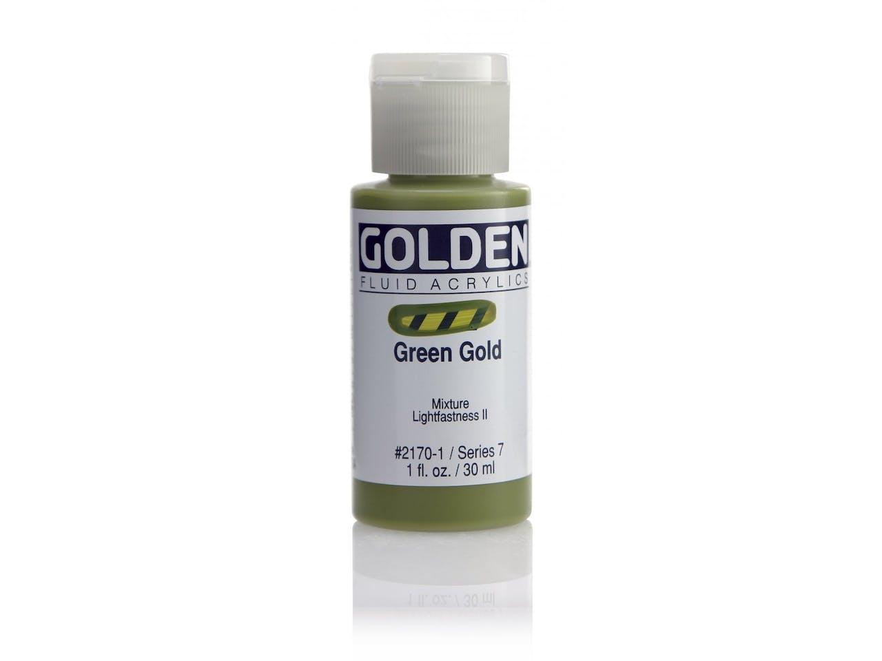 Golden Acrylfarbe Fluid, Flasche 30 ml, Green Gold (2170)