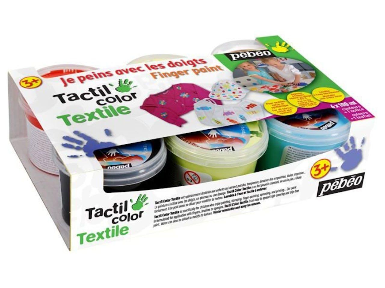 Pebeo Textilfingermalfarbe Finger Paint Textile, 6er-Set Dosen à 100 ml