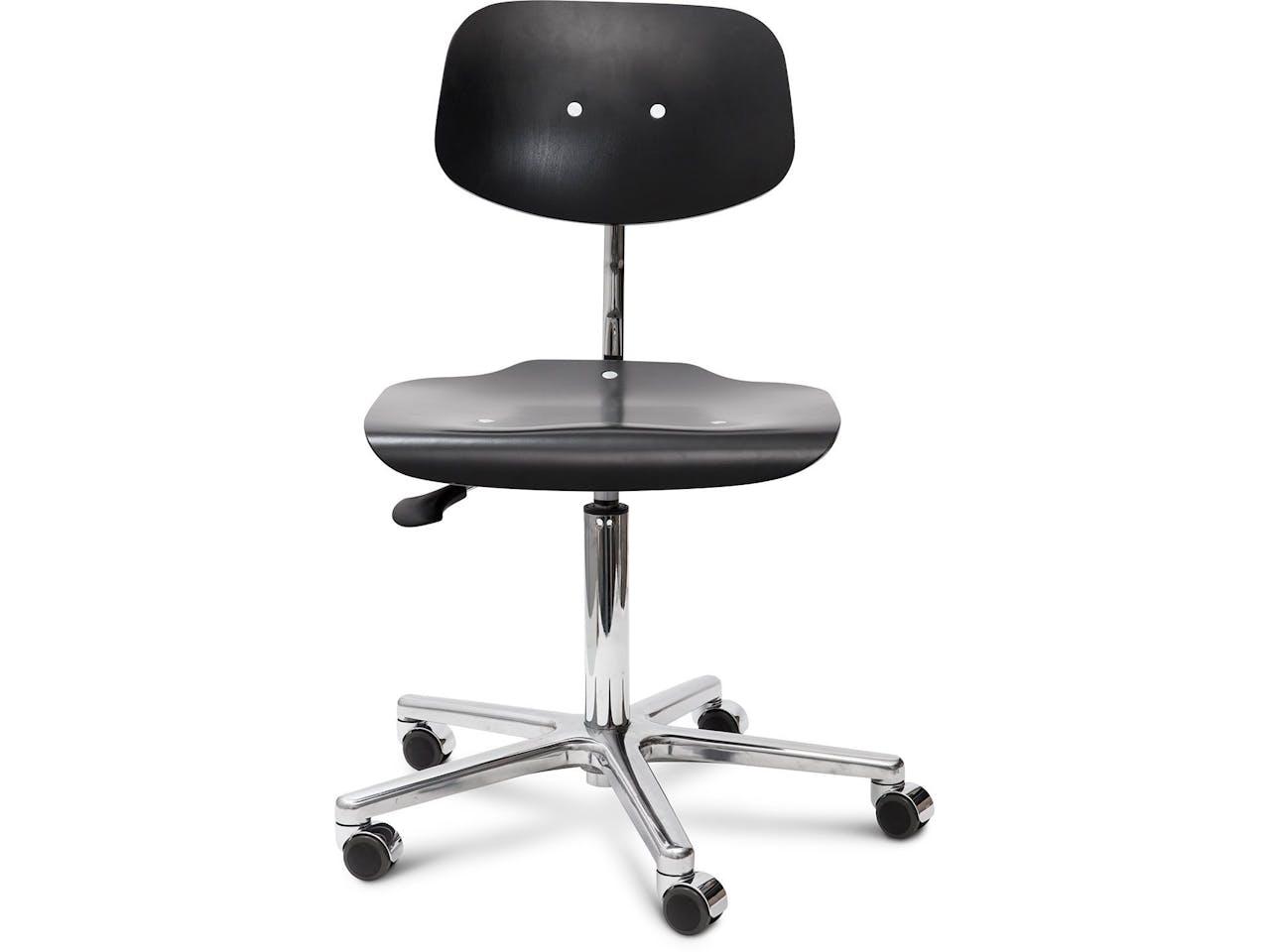 Modulor Arbeitsstuhl, 450-630 x 480 x 415, Buche schwarz gebeizt