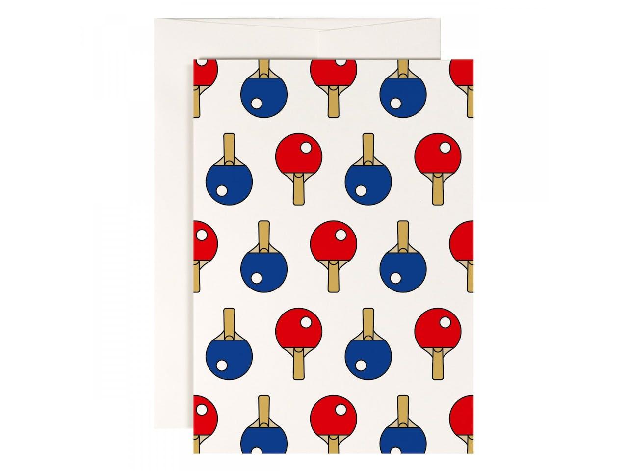 Redfries Grußkarte, DIN A6/C6, Klappkarte mit Kuvert, Ping pong