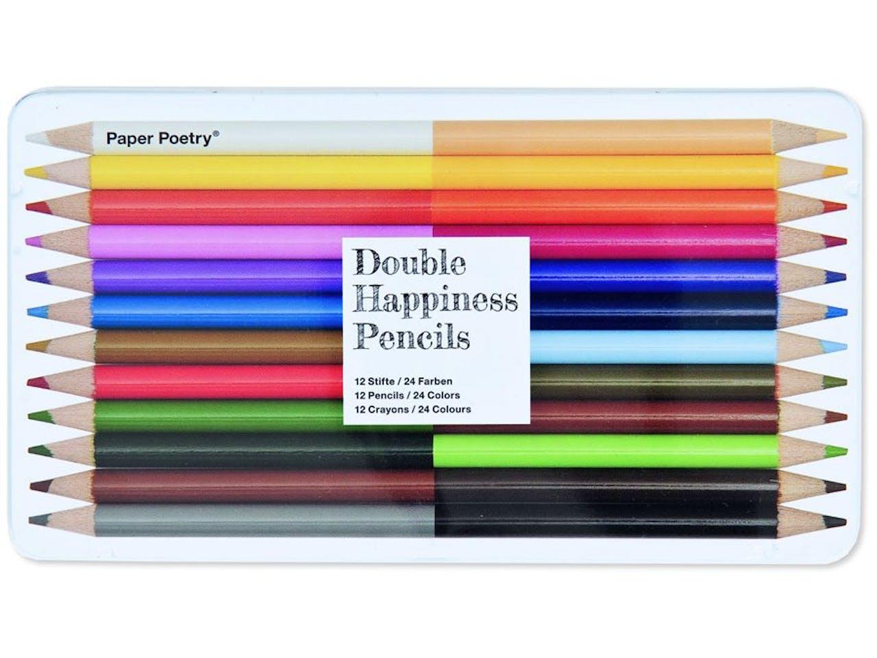Paper Poetry Buntstifte, 2in1 (Double Happiness),12(24)er-Set,in Metalletui