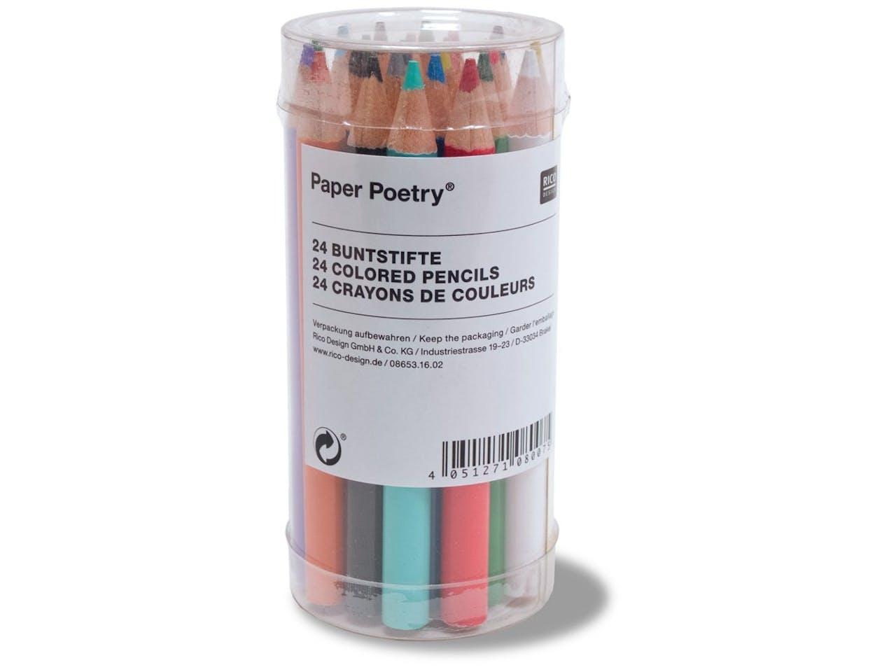 Paper Poetry Buntstifte, kurz, 24er-Set, l = 87 mm, ø 7,25 mm, im Zylinder