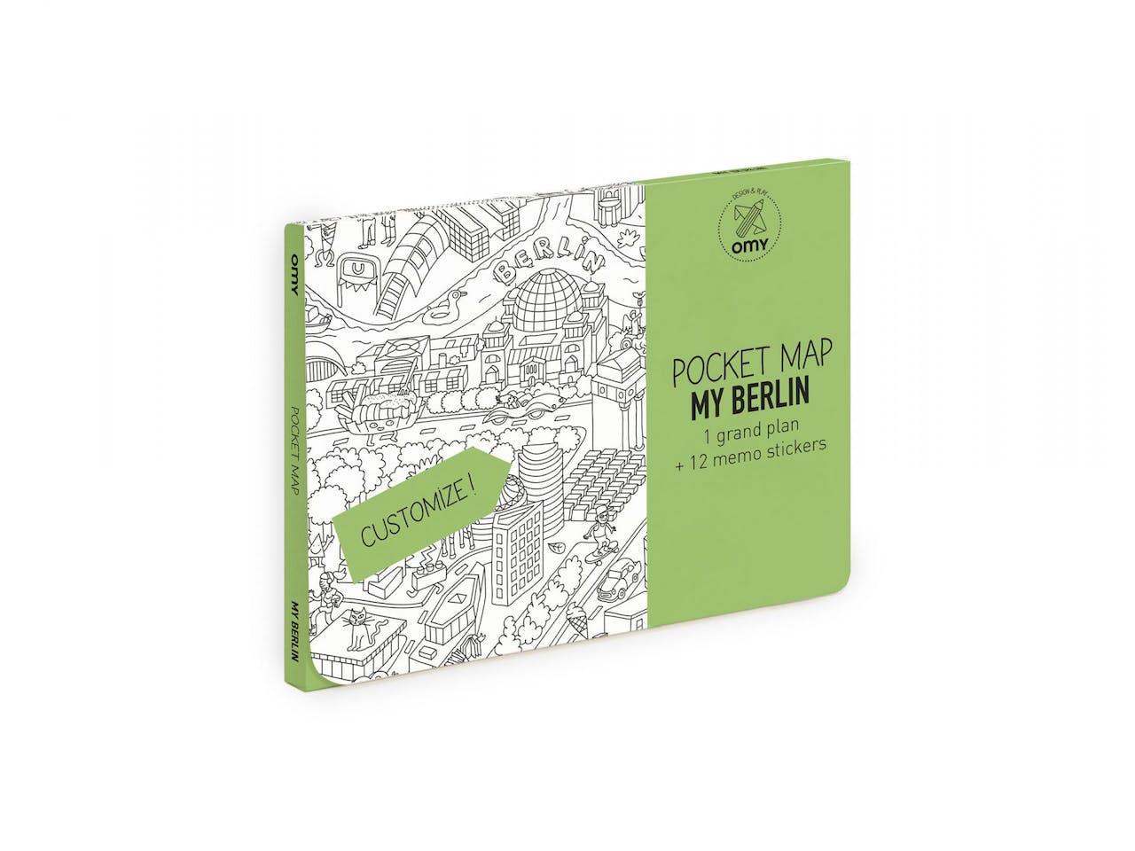 OMY Pocket Map, Ausmalposter, 52 x 38 cm, gefaltet, 12 Sticker, my Berlin