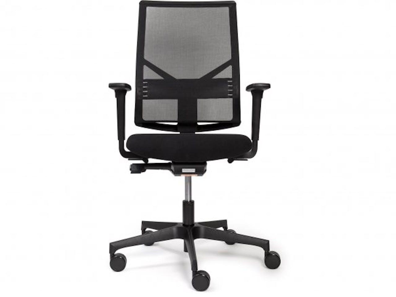Modulor Bürostuhl mit Netzrücken, 430-560, 475x440x600mm, harte Ro., 2D Armlehnen