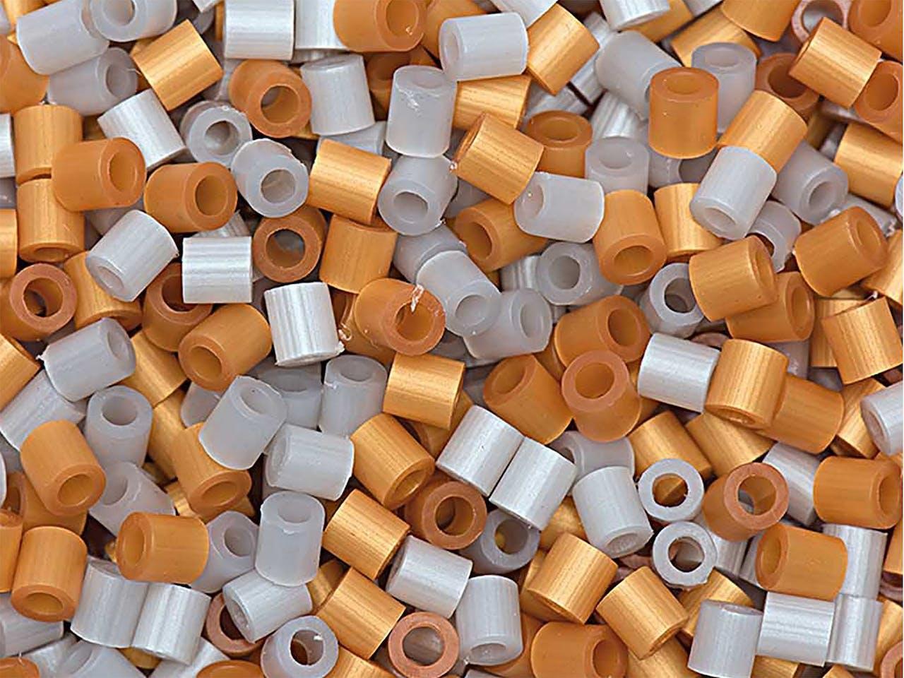 Bügelperlen Mix, 50 x 50 mm, ca. 1000 Stück, gold/silber