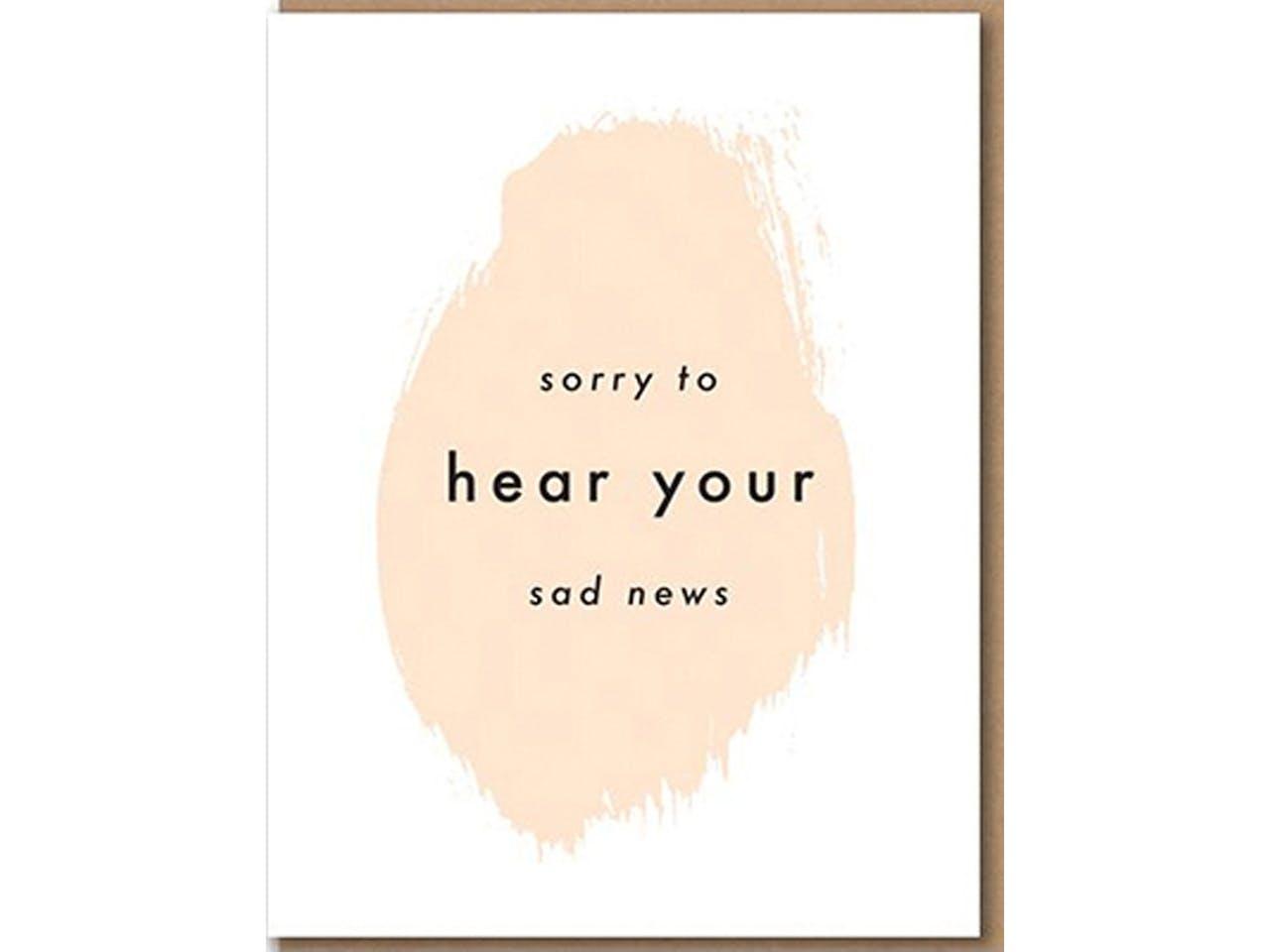 Nineteenseventythree Grußkarte mit Kuvert, DIN A6/C6, Sorry to hear your sad news