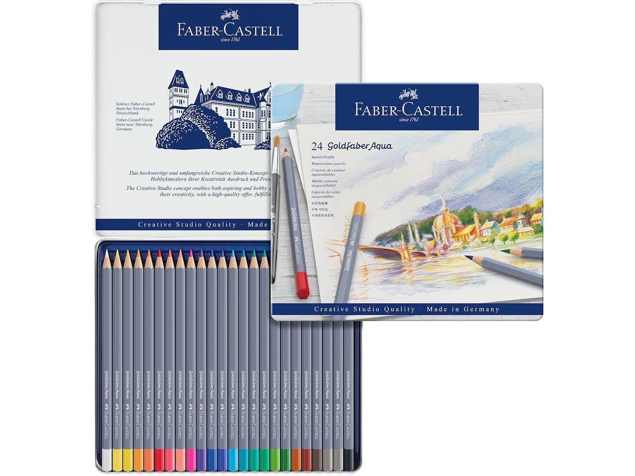 Faber-Castell Aquarellstifte Goldfaber, 24er-Set, im Metalletui