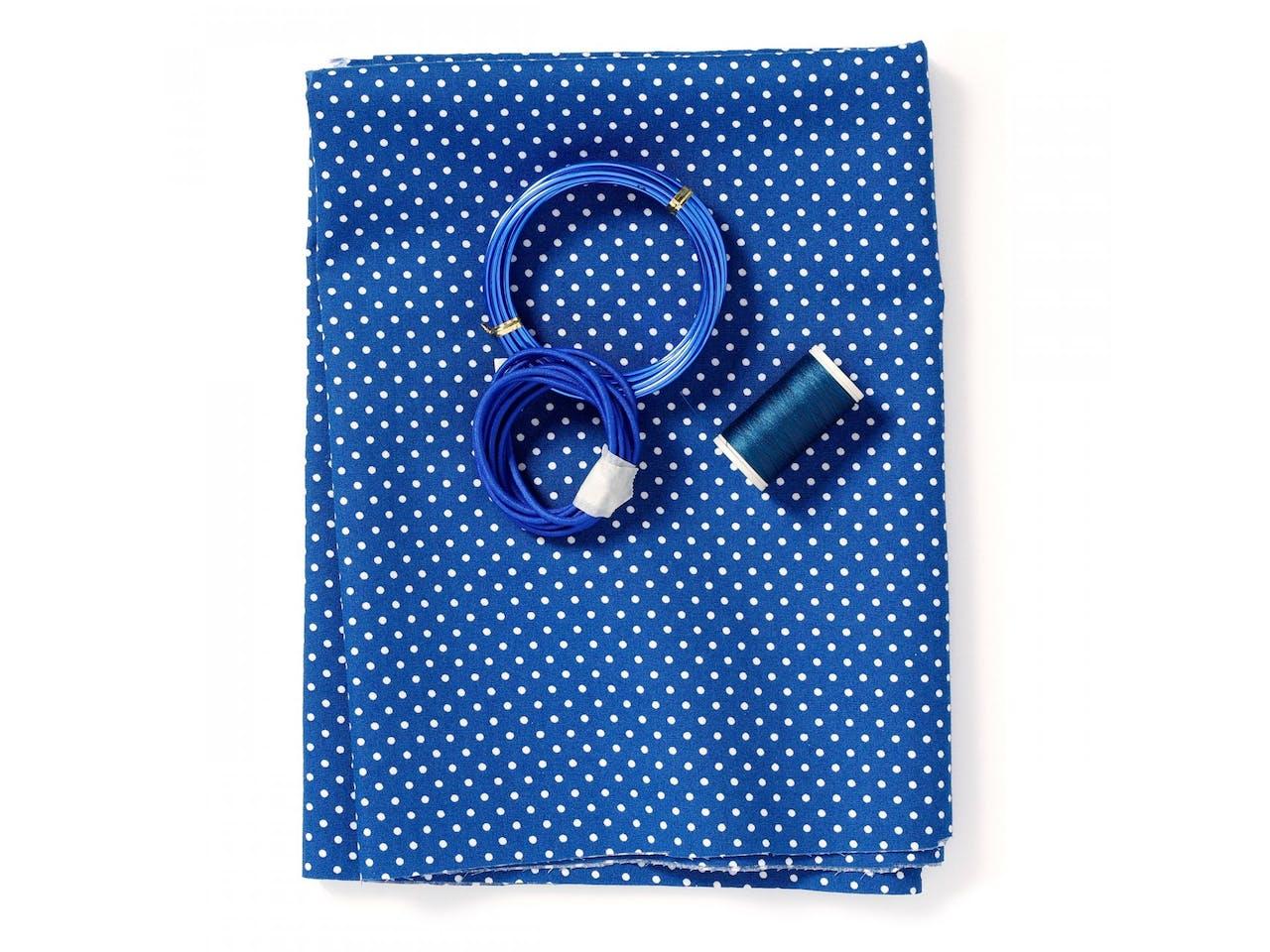 DIY Nähset Behelfs-Mund-Nasen-Maske (Burda Typ 1), für 3 Masken, Stoff mit Punkten, farbig sortiert