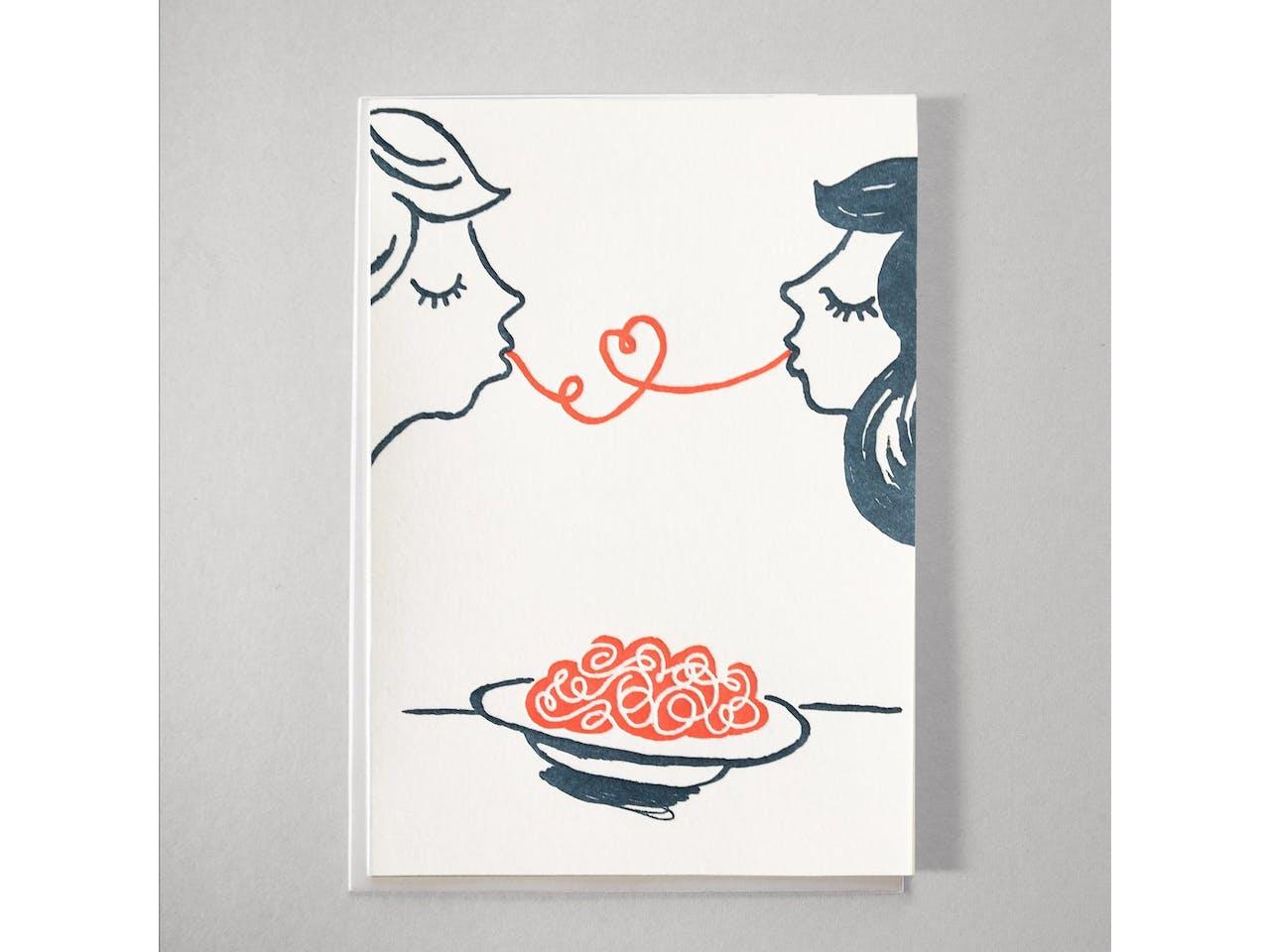 Kikisoso Grußkarte Letterpress, DIN A6/C6, Klappk. mit Kuvert, Spaghetti Love