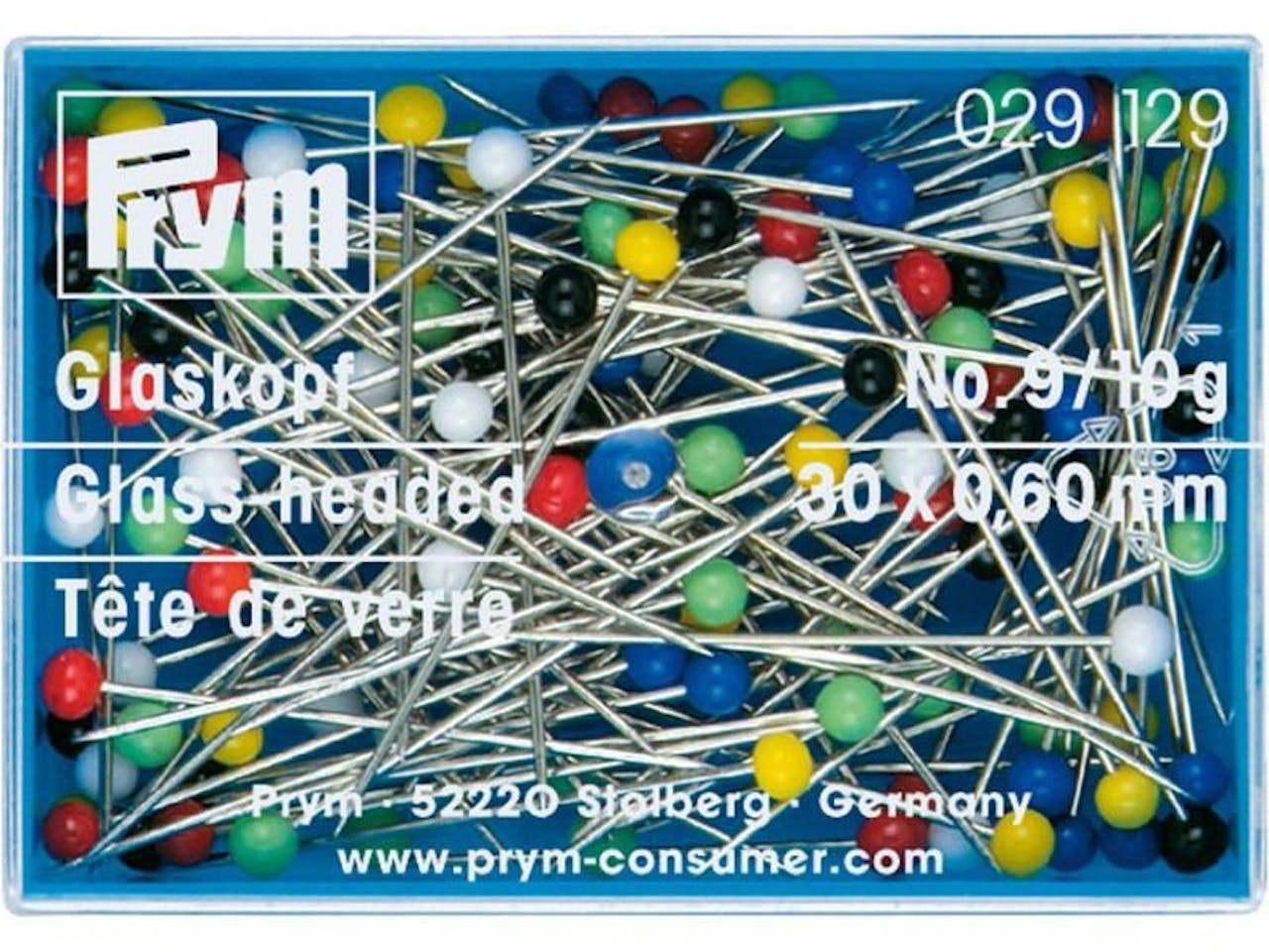Prym Buntkopf-Stecknadel Glas, Stahl, gehärtet, bunt, 30 x 0,60 mm, 10 g in Kunststoffd. (029129)
