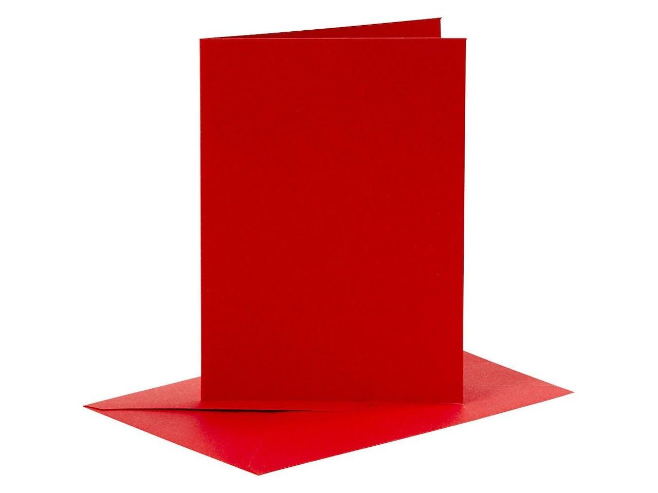 Blankokarten-Set, je 6 Klappkarten A6 & Kuverts C6, rot
