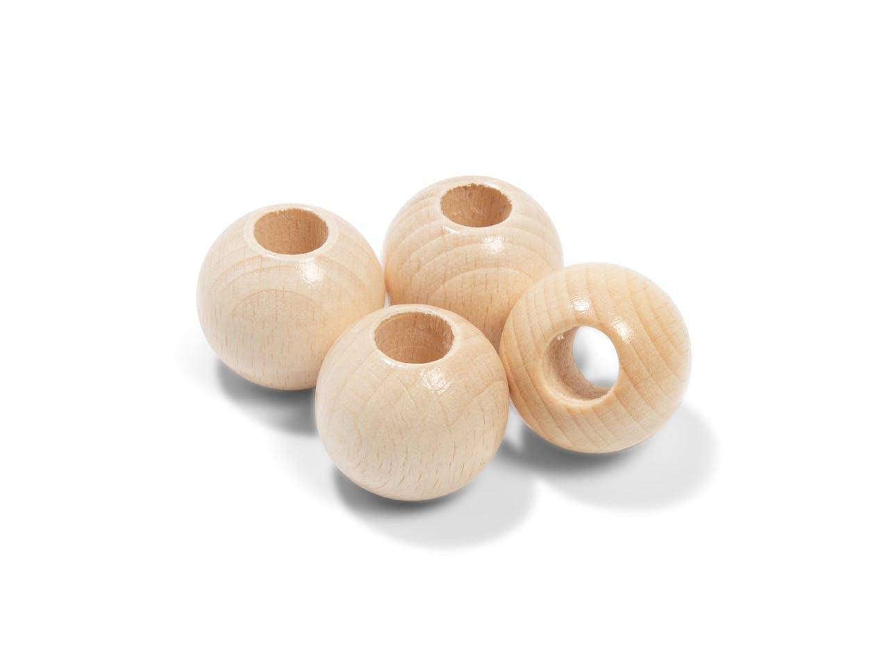 Holzperlen Buche Set, ø 25,0 x 10,0 mm, rund, 4 Stück, natur