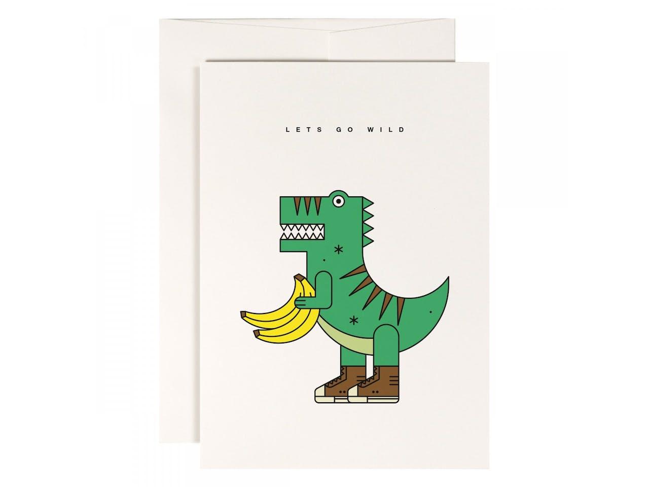 Redfries Grußkarte, DIN A6/C6, Klappkarte mit Kuvert, Veggiesaurus