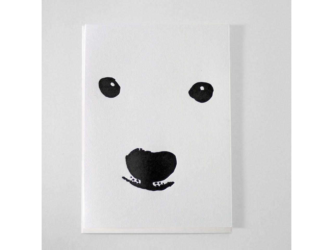 Kikisoso Grußkarte Letterpress, DIN A6/C6, Klappk. mit Kuvert, Faces Polar Bear