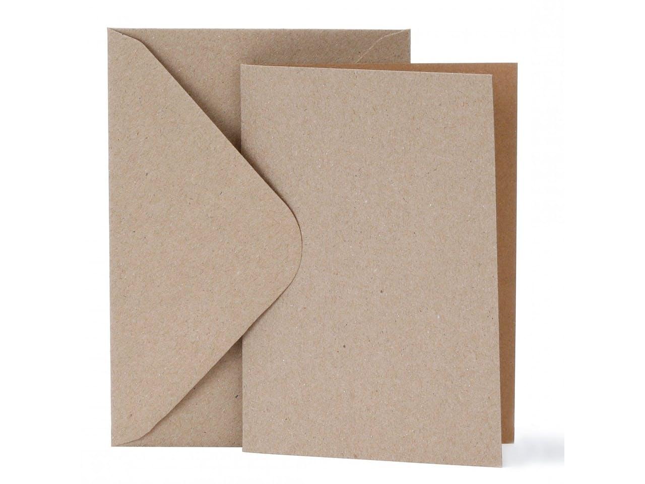 Recyclingpapier Blankokarten-Set, je 10 Karten 105x150 mm & Kuverts 115x165 mm,natur