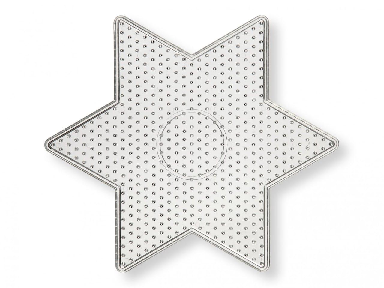 Steckplatte für Bügelperlen, ca. 150 x 150 mm, transparent, Stern