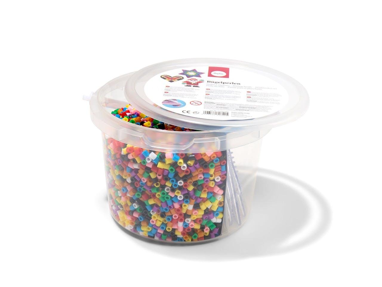 Bügelperlen Set, 6000 Perlen,ø 5mm, 4 Steckformen,Bügelpapier