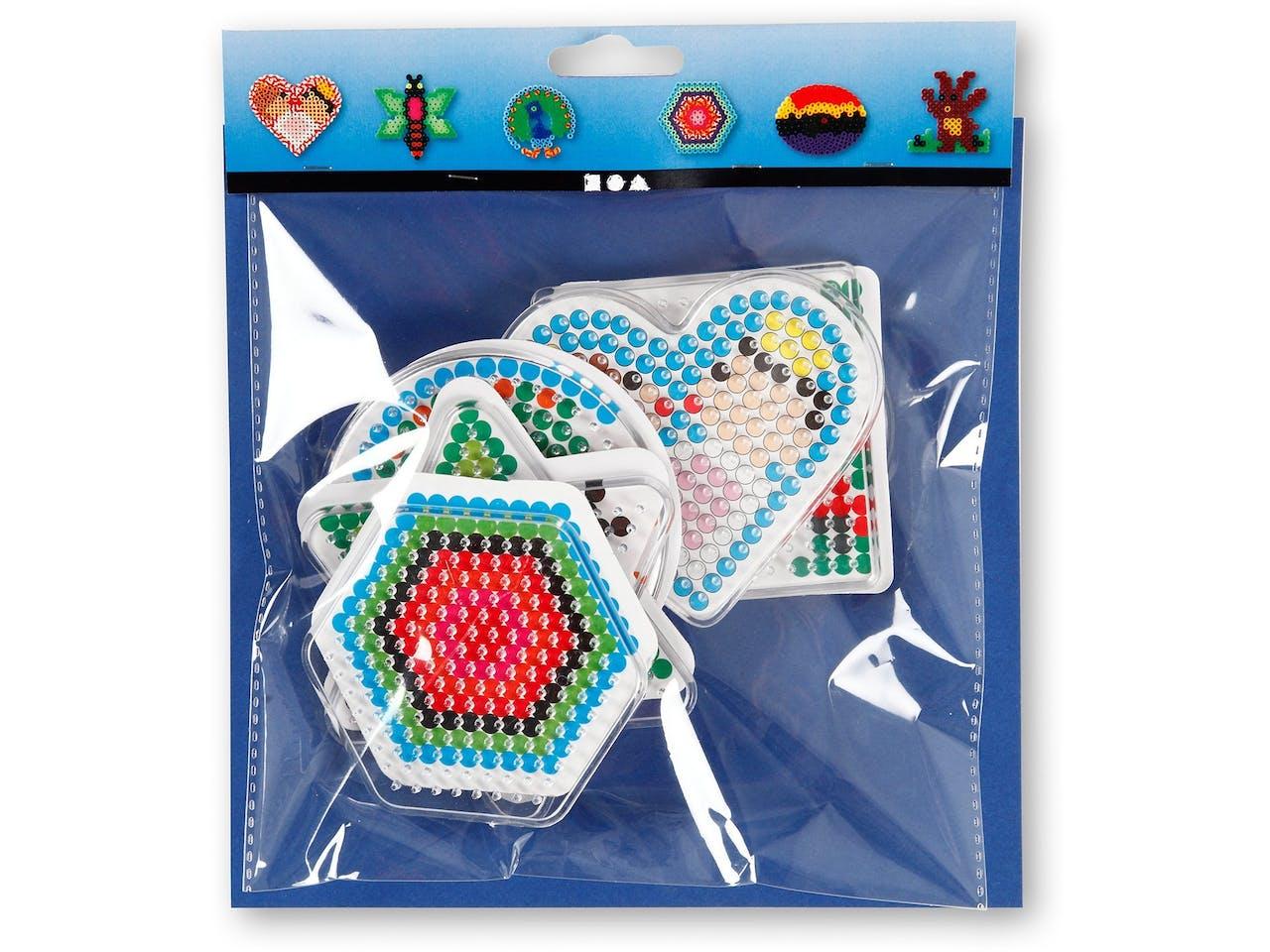 Steckplatte für Bügelperlen, Set, 6er Set, ca. 70 bis 100 mm, geometrische Formen