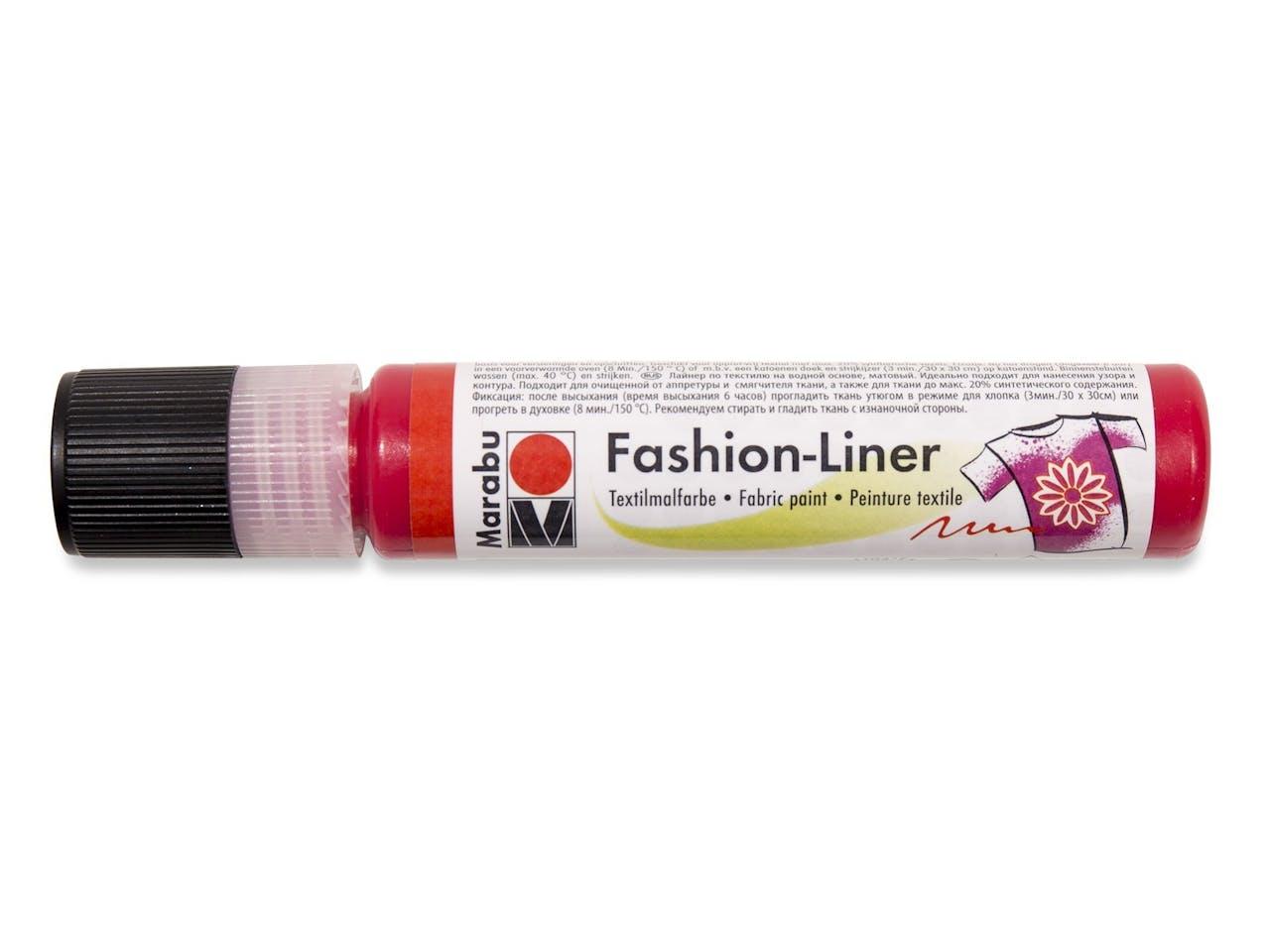 Marabu Fashion-Liner Textilmalfarbe, Tube, 25 ml, rot (232)