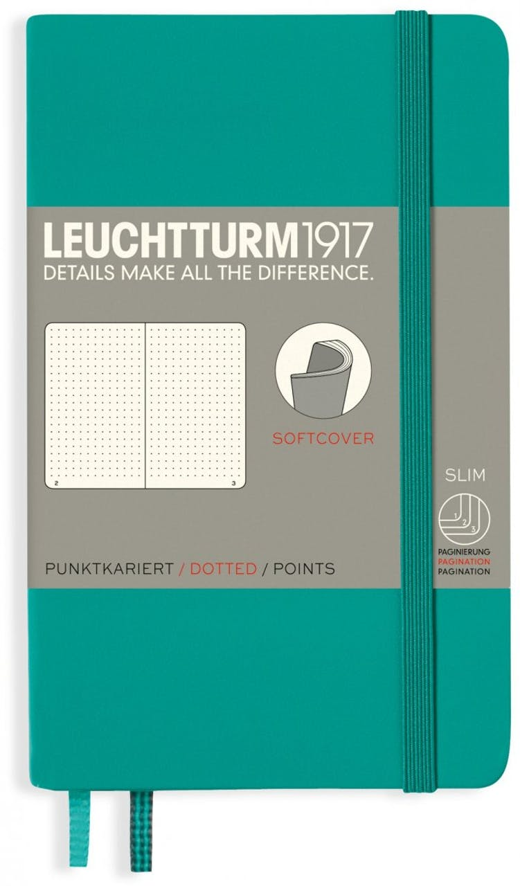 Leuchtturm Notizbuch Softcover, A6, Pocket, punktkariert, 121 Seiten, smaragd