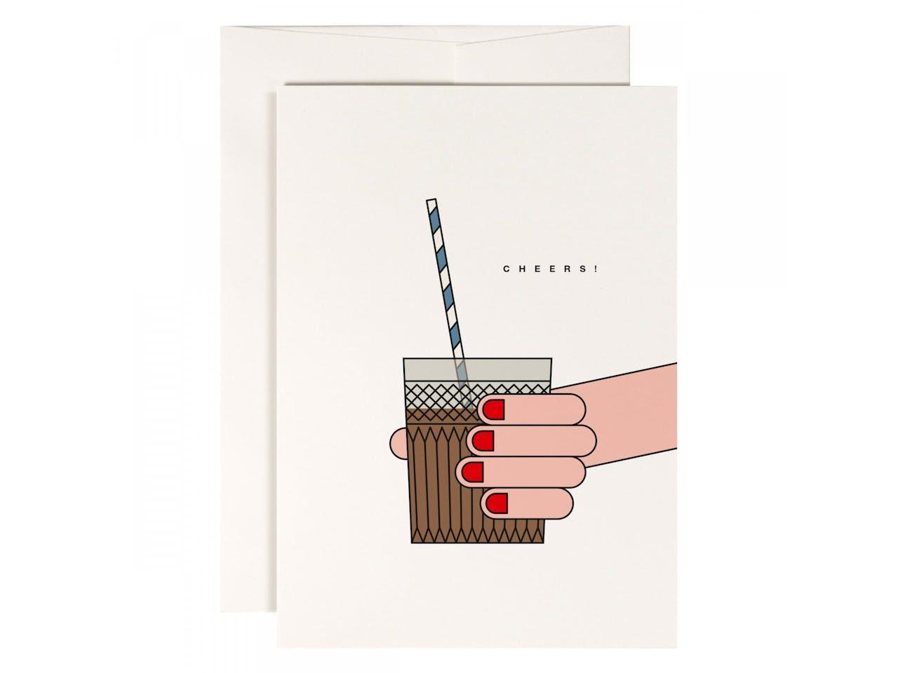 Redfries Grußkarte, DIN A6/C6, Klappkarte mit Kuvert, Cheers