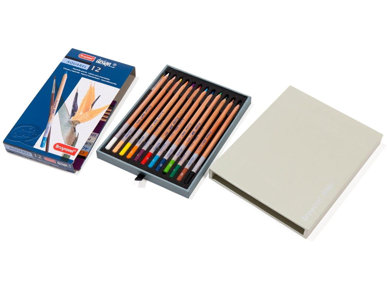 Bruynzeel design Aquarellbuntstifte, Set in ausziehbarer Box, 24 Stifte + 1 Pinsel