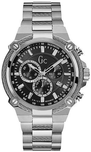 Cette montre GC se compose d'un Boîtier Rond de 44 mm et d'un bracelet en Acier Gris