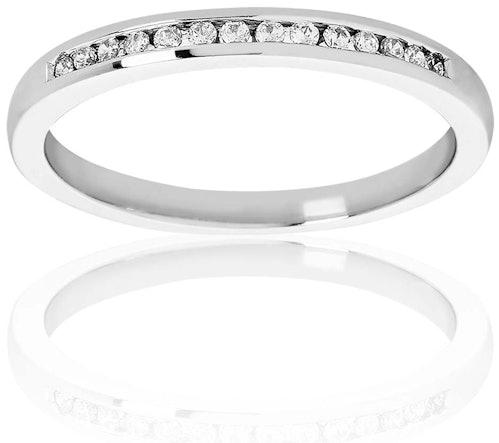 Cette Alliance PROMESSE est en Or 375/1000 Blanc et Diamant Blanc
