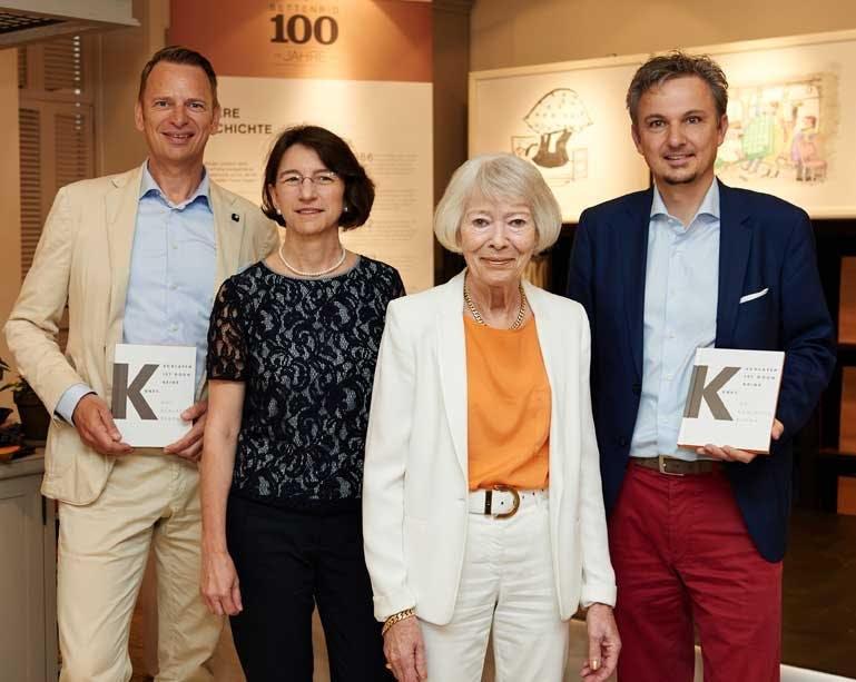 Von links nach rechts: Robert Waloßek (Geschäftsführer Bettenrid), Michaela Pichlbauer (Vorständin Rid Stiftung), Helga Rid, Dr. Hans-Diether Dörfler (History Marketing)