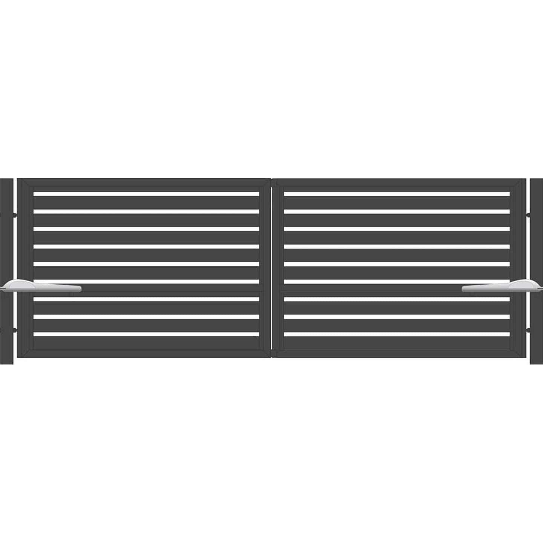 Jarmex Brama Trento dwuskrzydłowa z napędem i słupkami antracyt 398 x 140 cm