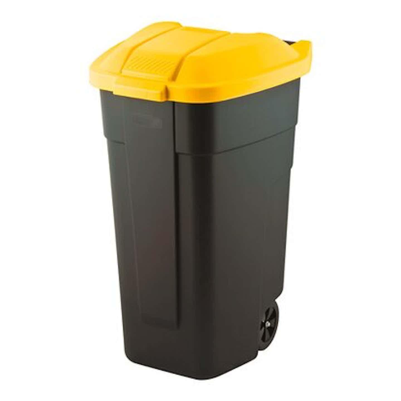 Curver Pojemnik na odpady na kółkach żółty 110 l