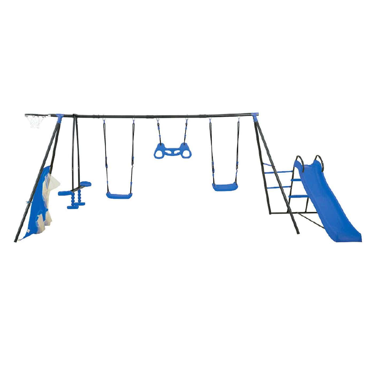 4IQ Plac zabaw metalowy Maks niebieski 386x180 cm wys. 180 cm