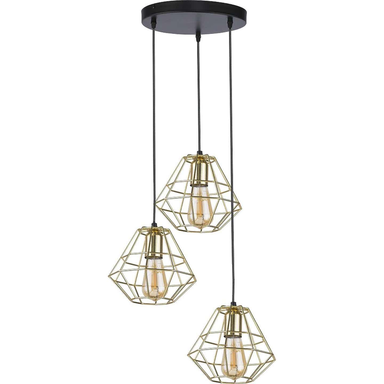TK Lighting Lampa wisząca DIAMOND GOLD śr. 20 cm złota 3x60W E27