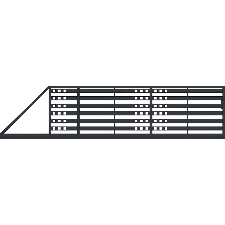 Jarmex Brama Milano II przesuwna lewa antracyt mat 400x140 cm