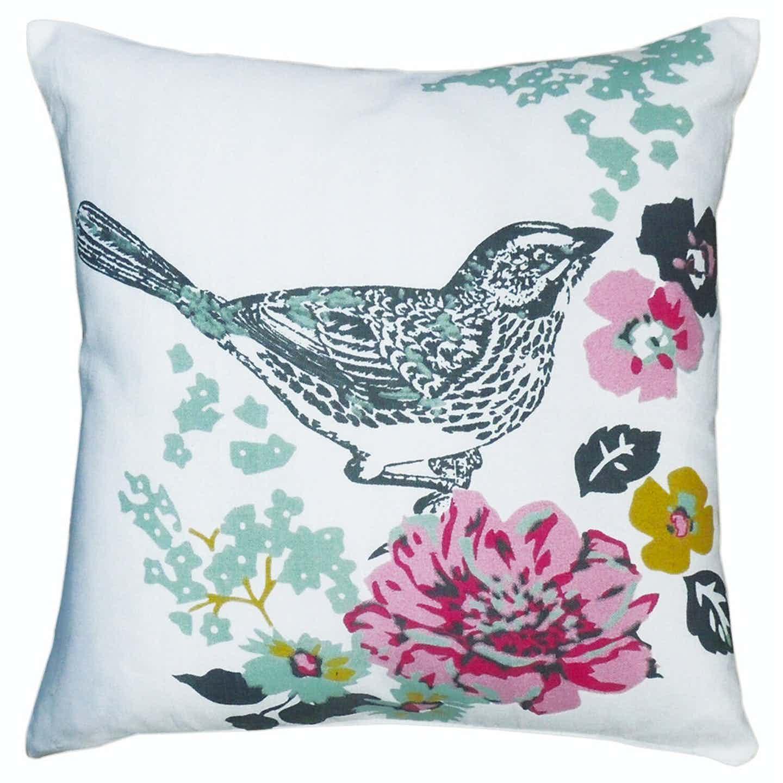 Poduszka dekoracyjna kwiaty / ptak 40x40 cm