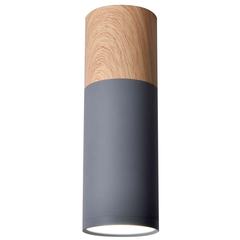 Candellux Oprawa natynkowa TUBA 20 śr. 6,8 cm drewno/szara 1xGU10