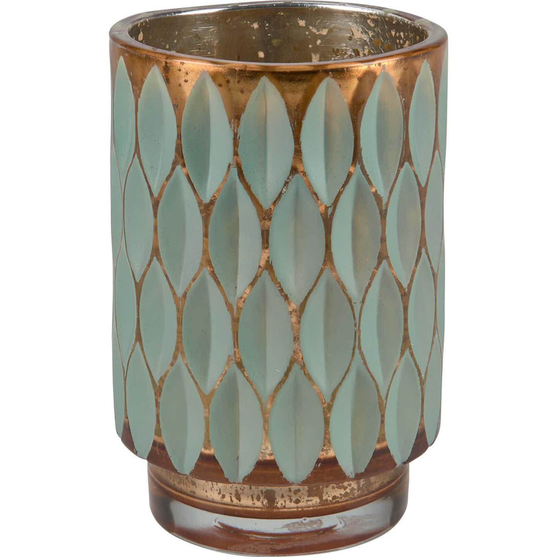 Świecznik szklany Safari wzór zielony 9x12,5 cm