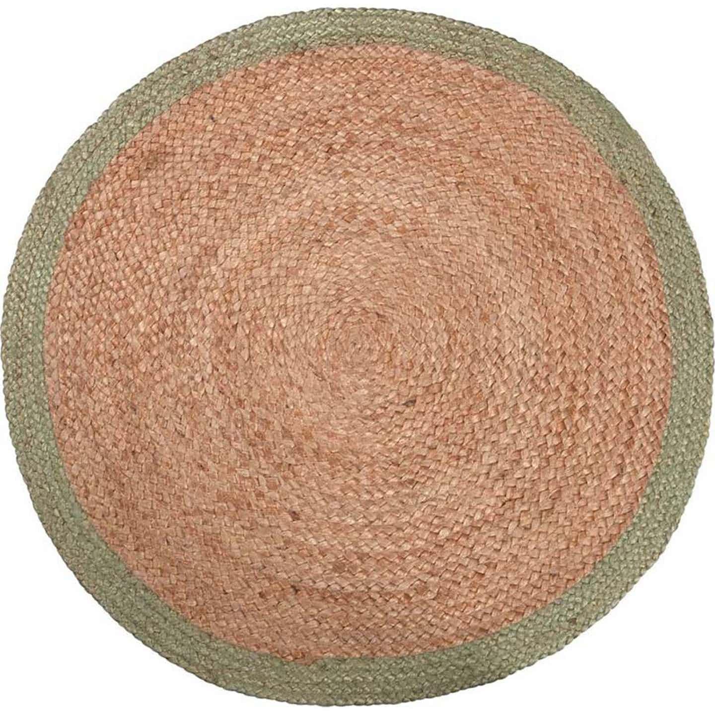 Jutowy dywan Scandi Spring zielony śr. 90 cm