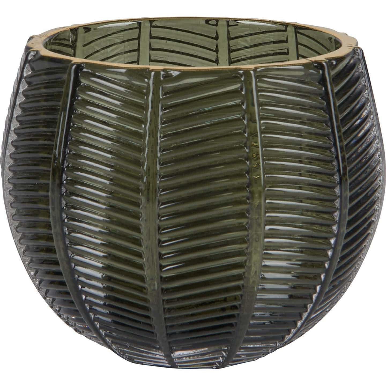 Świecznik szklany Brasil zielony CS 9x8 cm