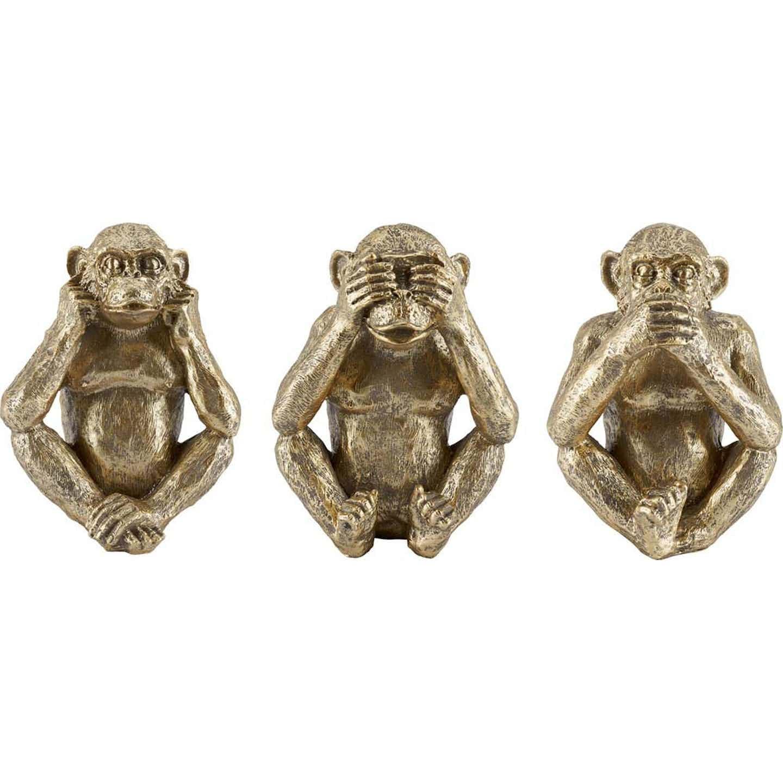 Zestaw małp Exotic Jungle złoty 3 szt. 36 x 15,5 x 20 cm