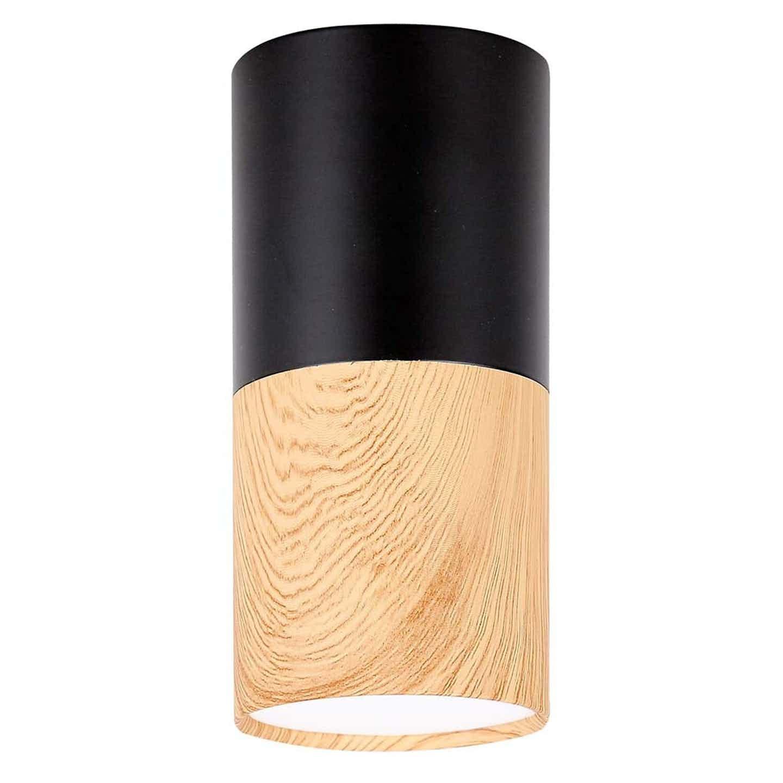Candellux Oprawa natynkowa TUBA 12 śr. 5,8 cm drewno/czarna 1xGU10