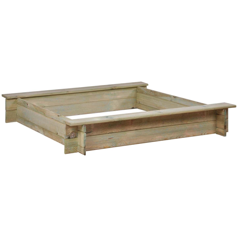 Sobex Piaskownica drewniana Basic z ławeczką 120 x 120 x 19,5 cm