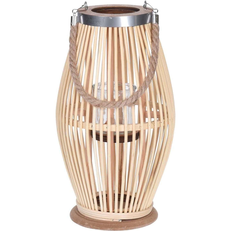 Latarnia bambusowa naturalna 38 cm