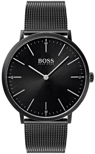 Cette montre BOSS se compose d'un Boîtier Rond de 40 mm et d'un bracelet en Acier Noir